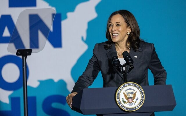 """Nathan Posner for the AJT// Vice President Kamala Harris speaks at a """"We Can Do This"""" vaccine tour event in Atlanta in Atlanta June 18."""