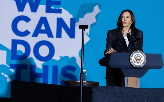"""Nathan Posner for the AJT// Vice President Kamala Harris speaks at a """"We Can Do This"""" vaccine tour event in Atlanta June 18."""
