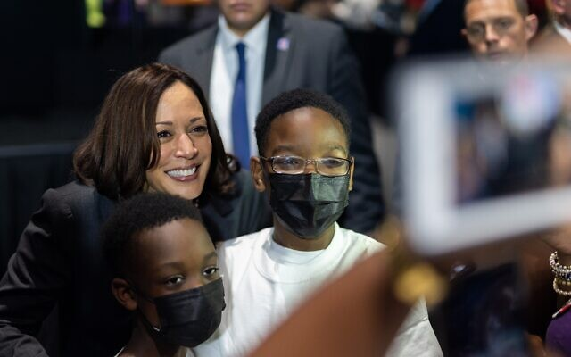 """Nathan Posner for the AJT// Vice President Kamala Harris greets supporters after speaking at a """" vaccine tour event in Atlanta June 18."""