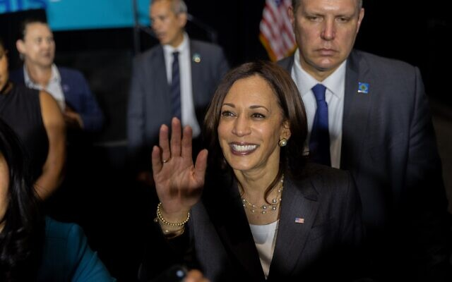 """Nathan Posner for the AJT// Vice President Kamala Harris greets supporters after speaking at a """"We Can Do This"""" vaccine tour event in Atlanta June 18."""