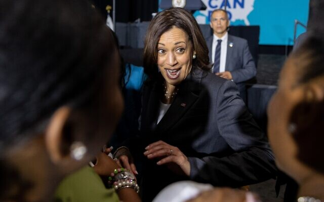 """Nathan Posner for the AJT// Vice President Kamala Harris greets supporters after speaking at a """"We Can Do This"""" vaccine tour event in Atlanta June 18. ."""