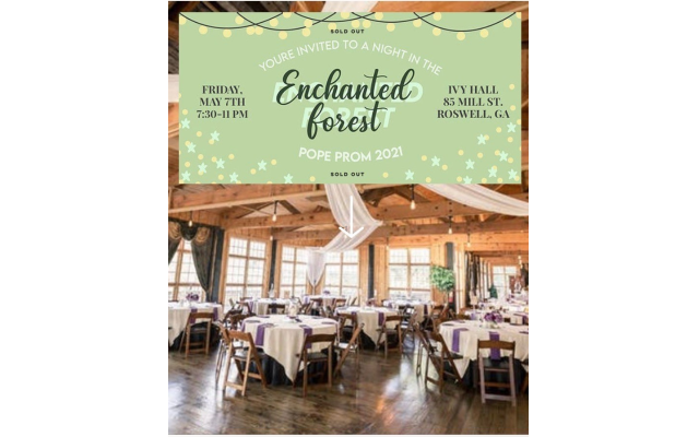 Invitation to prom night in the Enchanted Forest at Ivy Hall May 7.