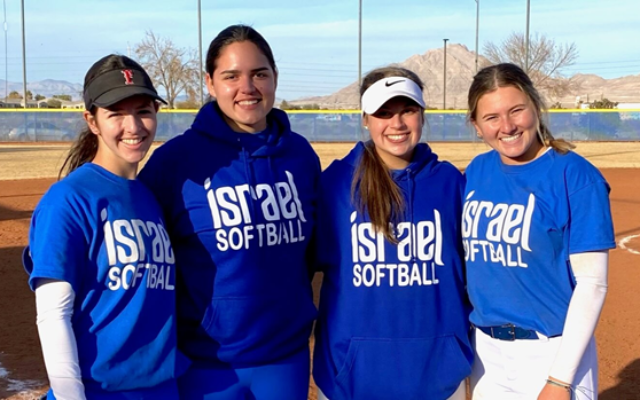 Sydney Silverstein, second from right, joins Israel's U18 national softball team.