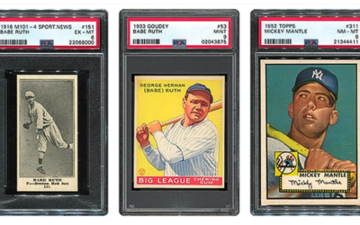 Baseball cards in their protective Lucite holders are part of a $20 million sports auction.