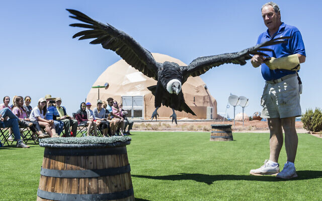 Guests are entertained by an exotic bird show at Grand Canyon domes.