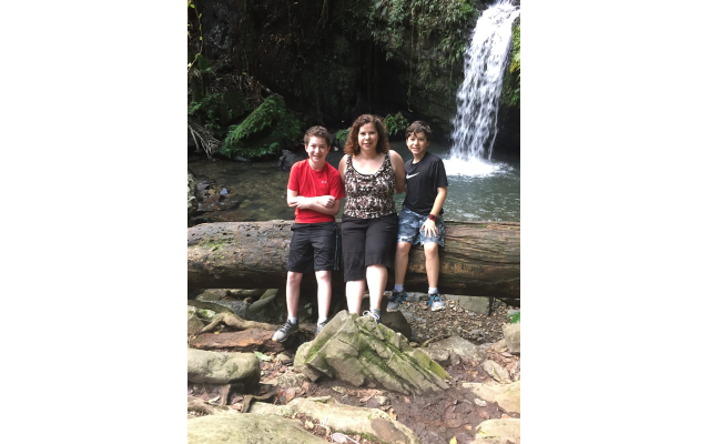 Wendy Vitale with sons Alex and Jeremy at Mameyes in El Yunque National Forest, Puerto Rico