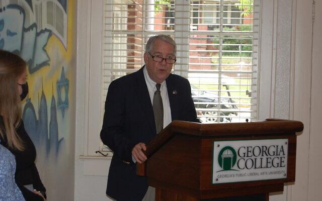 GCSU President Steve Dorman speaks at the dedication ceremony of the new Hillel house.