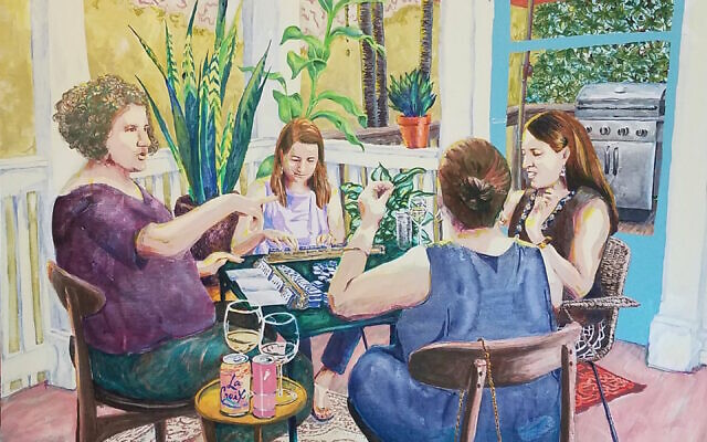 """Photos by Diane Crow// """"Mah Jongg on the Back Porch""""- Sharon captured the detail in this ever-popular mahjong scene. (Courtesy of Lapin)"""