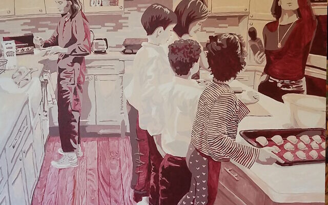 Photos by Diane Crow// This large sepia-toned painting is Lapin's interpretation of her attending a  boureka demonstration at a former Hebrew teacher's home while a  podcast was recording.  (Courtesy of Lapin)