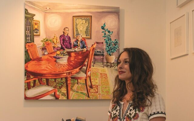 """Photos by Diane Crow// Sharon Lapin displays the scene she captured of her parents in their dining room, """"Portrait of Rich and Gloria Lapin."""""""