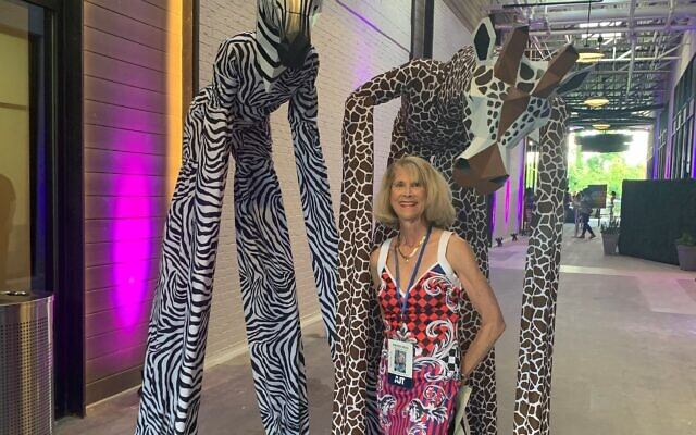 Marcia Jaffe was greeted by a stilted zebra and giraffe.