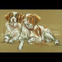 Holly and Poinsettia, two siblings in pastel. This is the second pair Mitzi Rothman did for the owner.