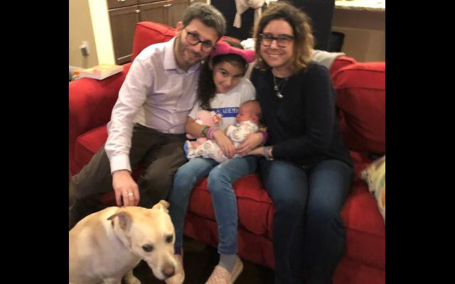 Rabbi Josh Hearshen with wife Carrie, daughter Ayelet, newborn Galit, and Zahavah.