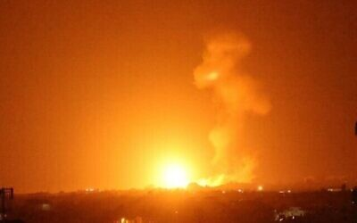 A fireball rises following an Israeli airstrike in Khan Yunis in the southern Gaza Strip in response to arson attacks from the enclave on August 23, 2021. (Said KHATIB / AFP)