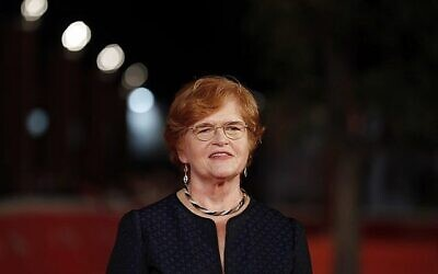 American historian and author Deborah Lipstadt poses for photographer at the Rome Film festival in Rome, October 17, 2016. (Gregorio Borgia/AP)