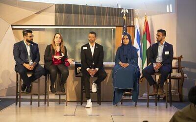 The Sharaka Delegation; Dan Feferman, Dr. Najat Al Saeed, Omar Al Busaidy, Sumaiiah Almheiri and Yahya Mahamid. Photo credit to Erik Schreb.