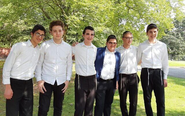 Yeshiva Ohr Yisrael students will blow the shofar for homebound individuals (L to R): Yisroel Gross, Mikkel Hertzberg, Binyomin Shmuel Leib Hiller, Eitan Zavulunov, Aaron Blanks, and Asher Fleshel.