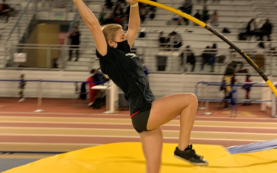 Laya Keadle competing in the pole vault during the indoor season. (Courtesy of Matthew Berry)