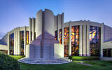 Temple Israel's breathtaking sanctuary exterior, with stained glass windows. (Photo Courtesy of Temple Israel).