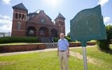 Ronnie Leet outside of the historic synagogue in Selma.