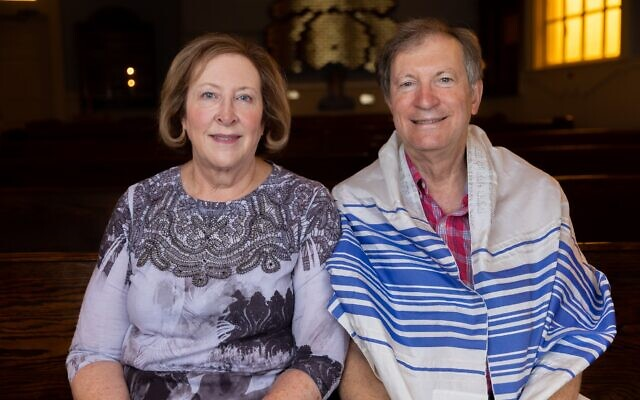 Rodeph Sholom President Nancy Brant and her husband Jeffrey Brant in the synagogue's sanctuary in Rome.