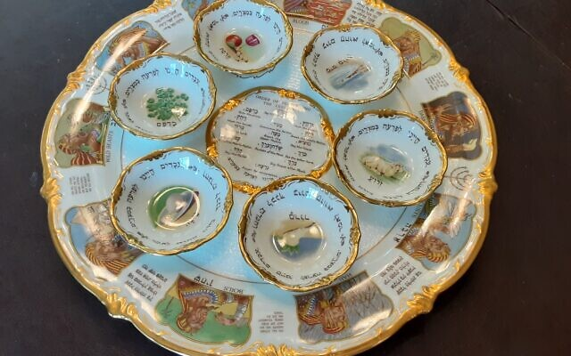 It took a month for Sheryl Blatt to remove this seder plate from its frame.
