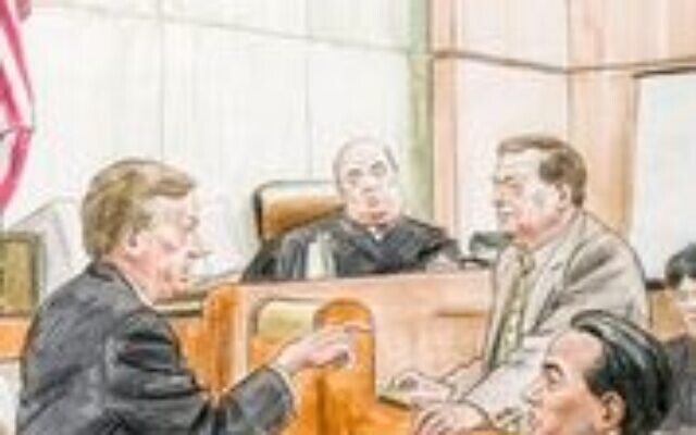 In 1999, lawyer Elliott Harris Levitas was asked to represent Elouise Cobell, a tribal elder and treasurer of the Blackfoot Nation, in a class-action suit. This court rendering, circa 1999, depicts Levitas and Cobell questioning Secretary of the Interior Bruce Babbitt. (Loaned by Elliott Levitas)