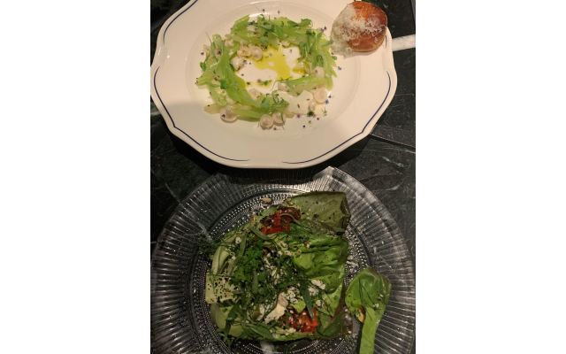 Top: celery ceviche seasoned with serrano and pecorino. Bottom: wedge salad with Point Reyes blue cheese and black sesame seeds.