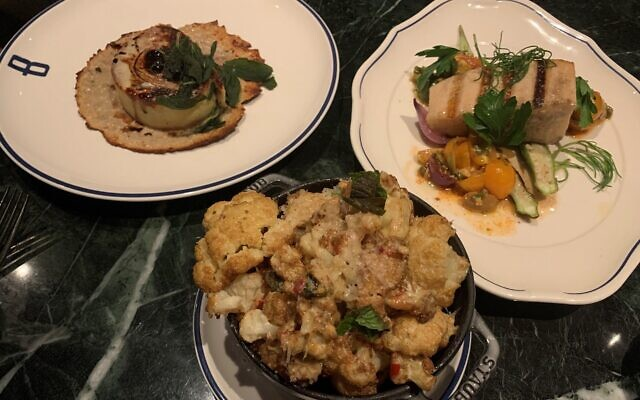From left: cauliflower with chili and pine nuts, lasagna rotolo, and swordfish made for a complex satisfying dinner.