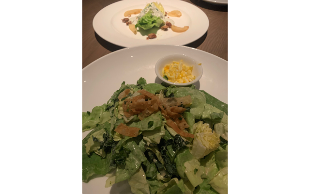 Salads: Butter Wedge (top) with pears and pecans was light and shareable.  Far East (bottom) features hearts of butter lettuce, romaine, baby kale, sesame oil, Caesar-style dressing and wonton.