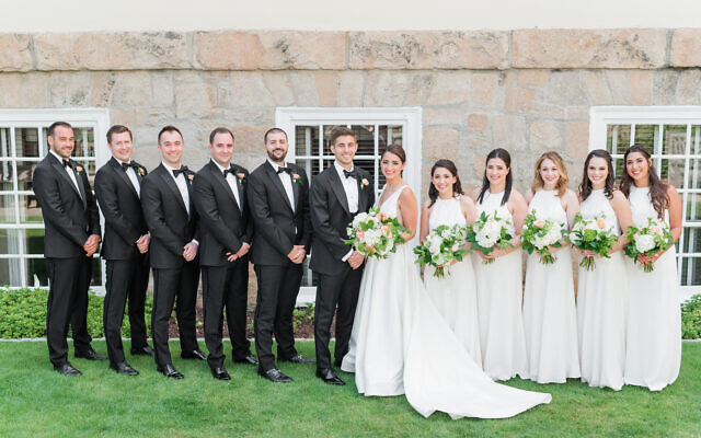 Photos by Mary Beth Marlow Photography //  Rachel and Craig pose with their attendants ahead of the ceremony.