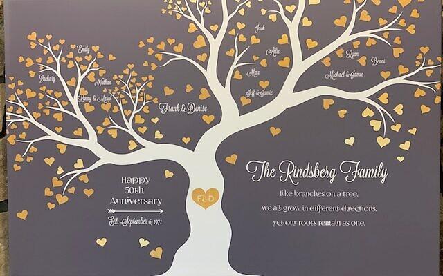 The Rindsberg family tree was the heartfelt focus of their 50th anniversary celebration.