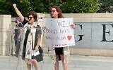 Rabbi Ellen Nemhauser and Rabbi Lauren Cohn giving the opening remarks at the rally.