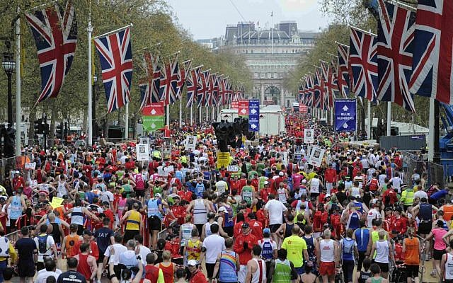 Illustrative: Competitors make their way from the finish area at the London Marathon in 2010. (Tom Hevezi/AP)
