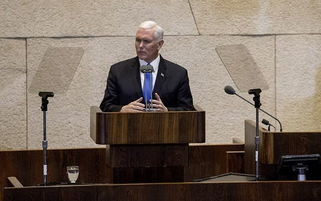 US Vice President Mike Pence addresses the Knesset in Jerusalem on January 22, 2018. (AFP Photo/Pool/Ariel Schalit)