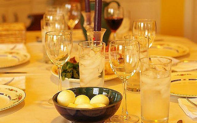 A seder table. (Courtesy, via the Jewish Week)