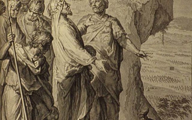 From, 'Balaam blessing the Israelites,' as in Numbers 24:1-5, 10-13. Illustration from the 1728 Figures de la Bible; image courtesy Bizzell Bible Collection, University of Oklahoma Libraries (Wikimedia Commons).