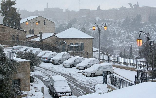 A view of the Yemin Moshe neighborhood in Jerusalem covered in snow (photo credit: Anna Kaplan /Flash90)