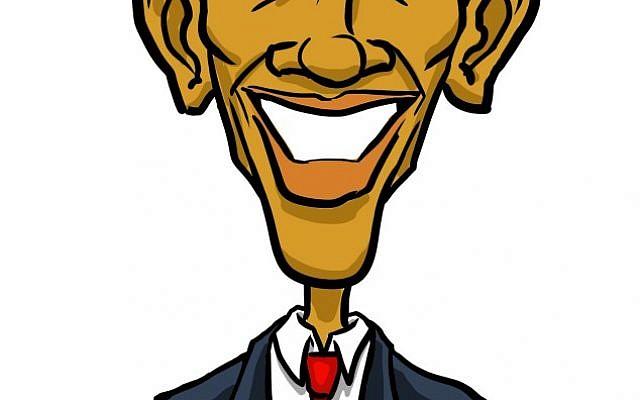 US President Barack Obama (illustration: Arie Katz/The Times of Israel
