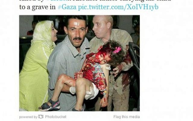 The photo tweeted by Khulood Badawi, allegedly depicting a Palestinian girl killed in an Israeli airstrike.