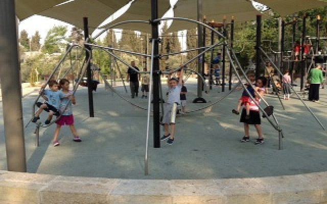 Part of the new playground at Independence Park, Jerusalem. (Jessica Steinberg)
