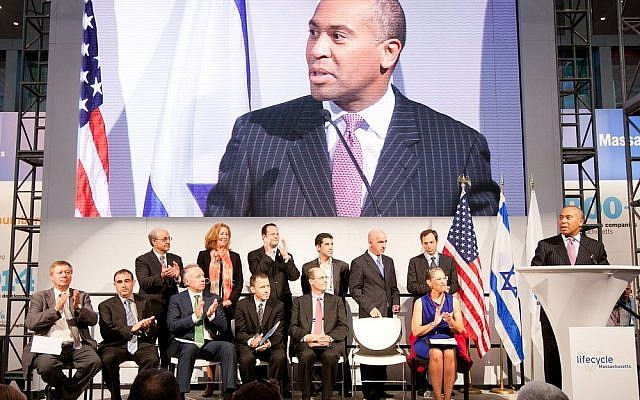 Massachusetts Governor Deval Patrick announces the awardees of grants in the Massachusetts-Israel Innovation Partnership at the Massachusetts Pavilion at the BIO International Convention at the Boston Exhibition and Convention Center last year 