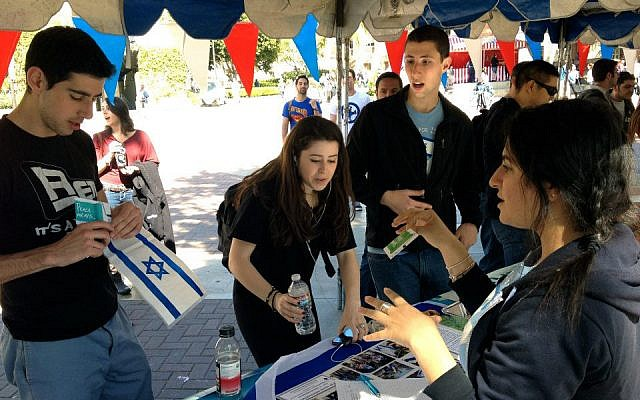 Illustrative photo: Pro-Israel students at UCLA. (Hasbara Fellowships via JTA)
