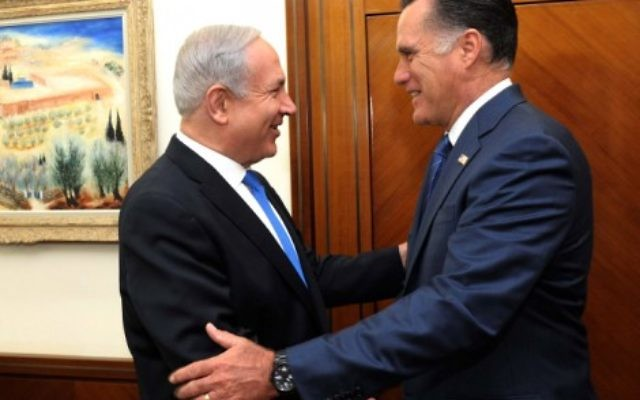 Prime Minister Benjamin Netanyahu welcomes Mitt Romney at his Jerusalem office, July, 2012 (photo credit: Avi Ohayon/GPO/Flash90