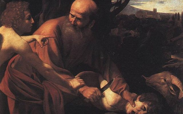 Bible scholar Tzemah Yoreh questions the common telling of the binding of Isaac -- the version that inspired Caravaggio -- in which an angel stops Abraham moments before he sacrifices his son. (Photo credit: From http://www.ibiblio.org/wm/paint/auth/caravaggio/isaac.jpgg/via Wikipedia)