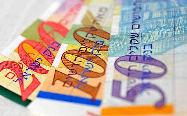 Illustrative photo of Israeli shekels. (Sophie Gordon/Flash90)