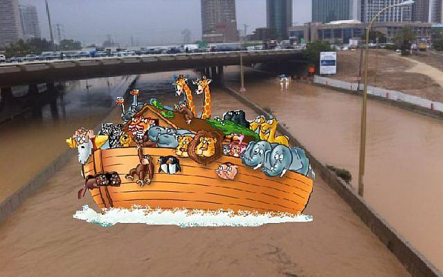 Noah's ark sails down the Ayalon Highway in Tel Aviv (photo credit: Jason Pearlman)