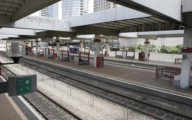Illustrative photo of an Israeli train station (Roni Schutzer/Flash90)