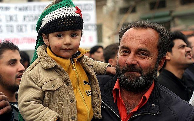 Demonstrating against the Islamic al-Nusra Front, Kfar Nabul (photo: Eliyahu Kamisher)