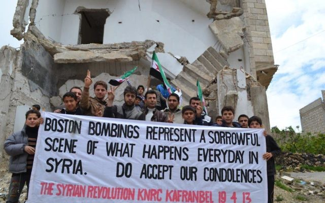 Syrians protestors in the town Kafranbel.
